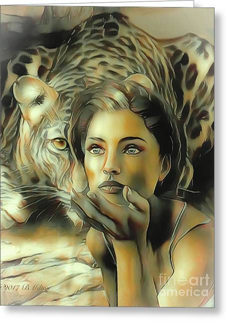 Kiss Of The Leopard Woman Greeting Card
