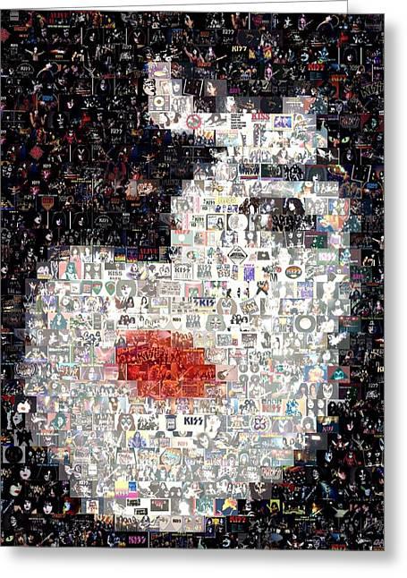 Kiss Paul Stanley Mosaic Greeting Card by Paul Van Scott