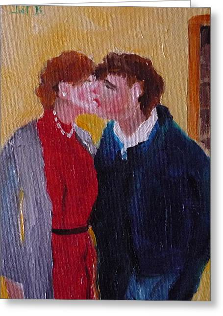 Kiss Time Greeting Card by Irit Bourla