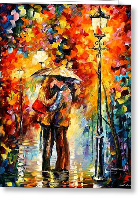 Kiss Under The Rain Greeting Card by Leonid Afremov