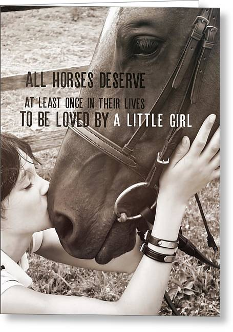 Greeting Card featuring the photograph Kiss You Quote by Dressage Design