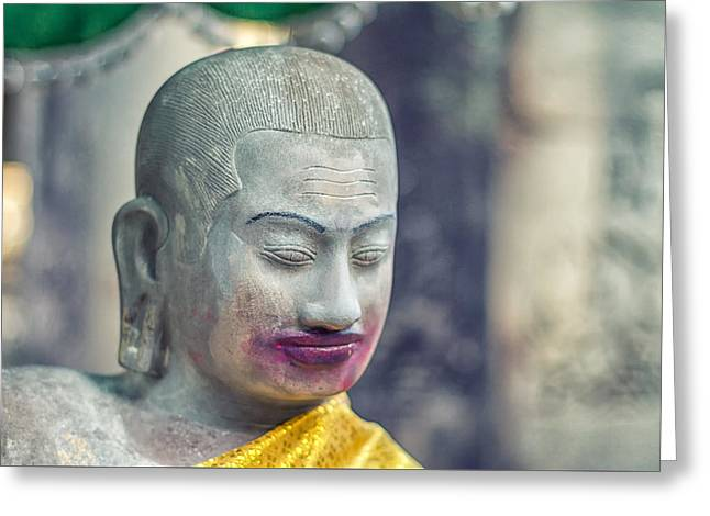 Kissing Buddha Angkor Wat  Greeting Card by Stelios Kleanthous