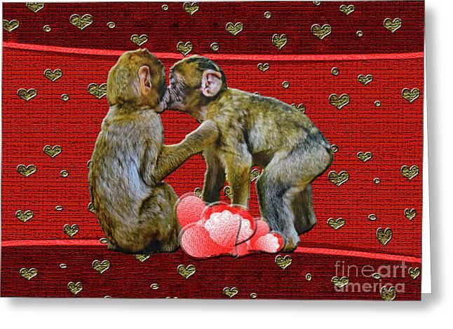 Kissing Chimpanzees Hearts Greeting Card