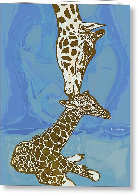 Kissing - Giraffe Stylised Pop Art Poster Greeting Card by Kim Wang