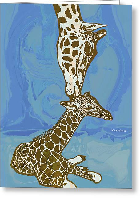 Kissing - Giraffe Stylised Pop Art Poster Greeting Card by Kim Wang