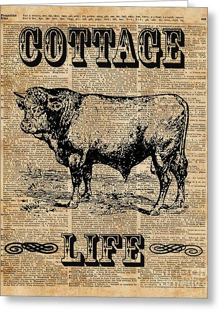 Kitchen Decor Cottage Life Cow Vintage Artwork Greeting Card