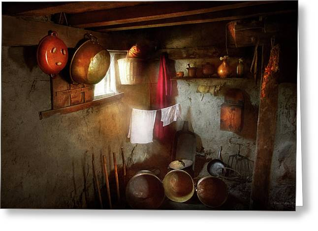 Greeting Card featuring the photograph Kitchen - Homesteading Life by Mike Savad