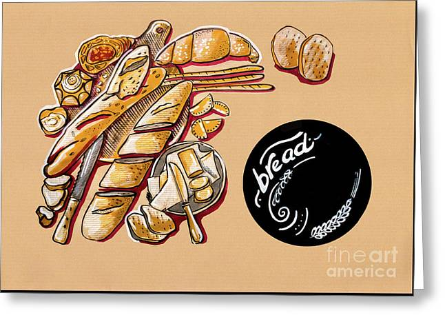 Greeting Card featuring the drawing Kitchen Illustration Of Menu Of Bread Products  by Ariadna De Raadt