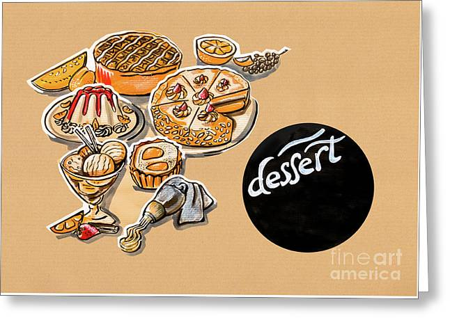 Kitchen Illustration Of Menu Of Desserts  Greeting Card