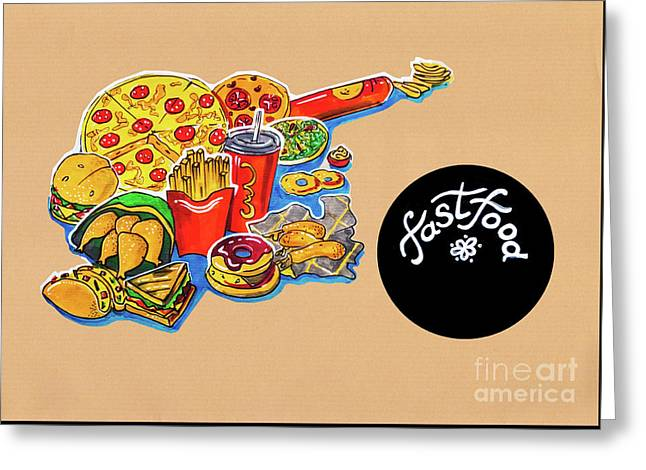Kitchen Illustration Of Menu Of Fast Food  Greeting Card