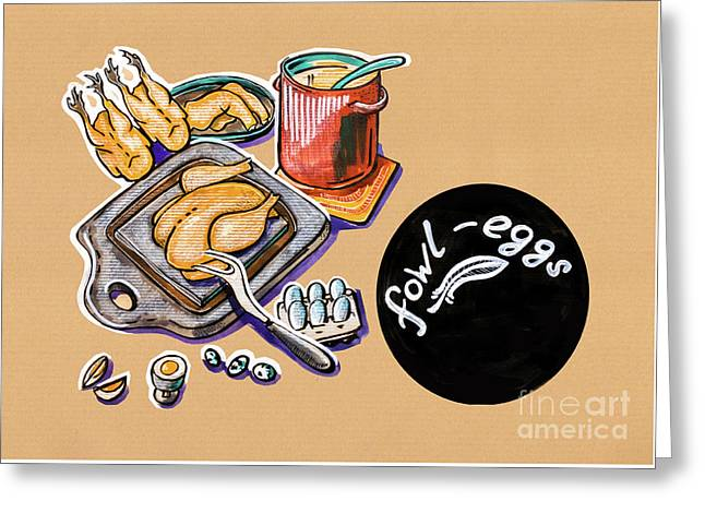 Kitchen Illustration Of Menu Of Fowl  Products  Greeting Card