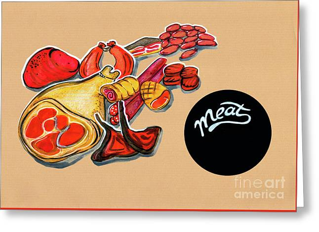 Kitchen Illustration Of Menu Of Meat Products  Greeting Card