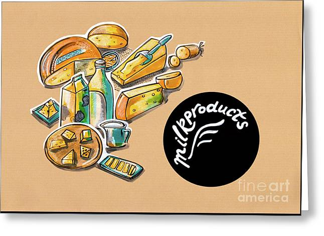 Kitchen Illustration Of Menu Of Milk Products  Greeting Card
