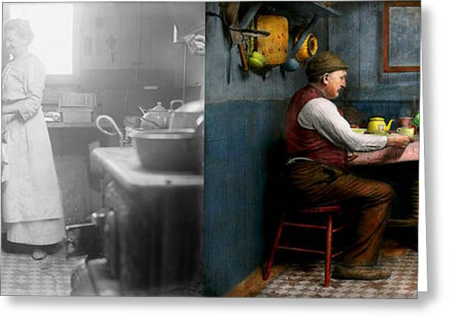 Kitchen - Morning Coffee 1915 - Side By Side Greeting Card