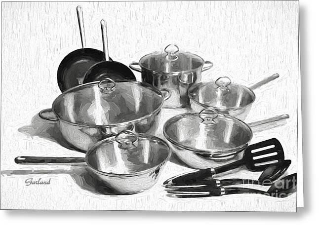 Kitchen Pots And Pans Greeting Card by Garland Johnson