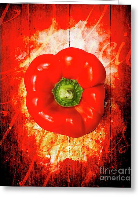 Kitchen Red Pepper Art Greeting Card