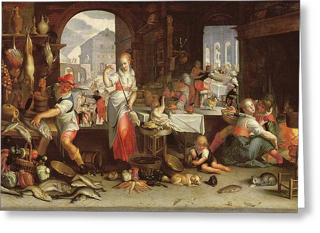 Kitchen Scene With The Parable Of The Feast Greeting Card by Joachim Wtewael