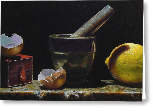 Kitchen Still Life With Red Box Greeting Card by Jeffrey Hayes