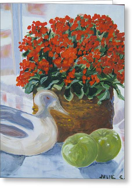 Greeting Card featuring the painting Kitchen Table by Julie Todd-Cundiff