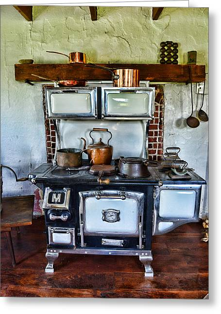 Kitchen - The Vintage Stove Greeting Card by Paul Ward