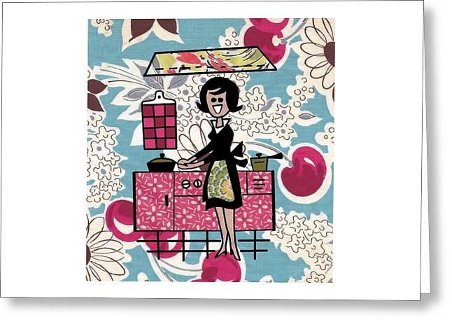 Kitchen Time Greeting Card by Desiree Warren