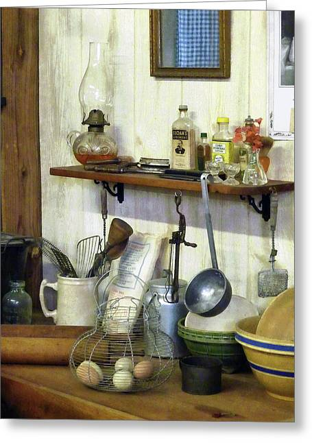 Kitchen With Wire Basket Of Eggs Greeting Card by Susan Savad