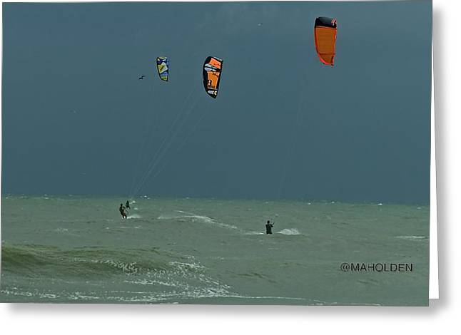 Kite Boarding At Obx Greeting Card by Mark Holden