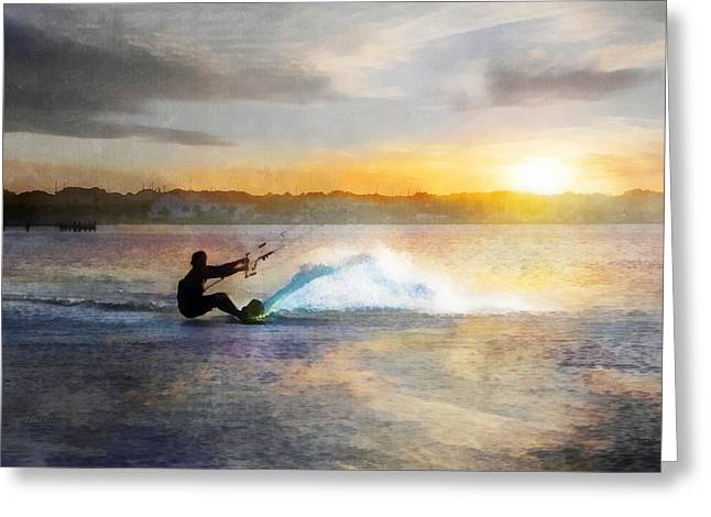 Kite Boarding At Sunset Greeting Card