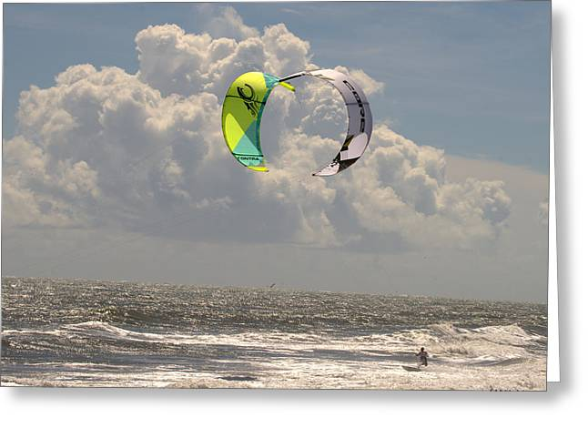 Kite Boarding Buxton Obx  Greeting Card by Mark Holden