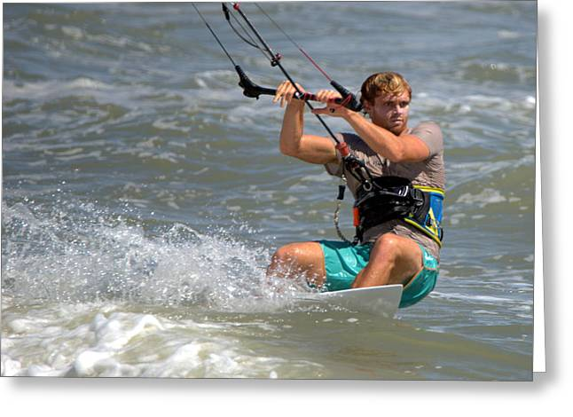 Kite Boarding Obx 2016 Greeting Card by Mark Holden