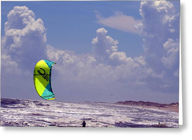 Kite Boarding Obx Sept 2016 Greeting Card by Mark Holden