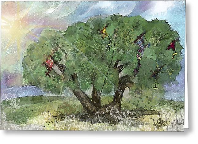Kite Eating Tree Greeting Card by Annette Berglund