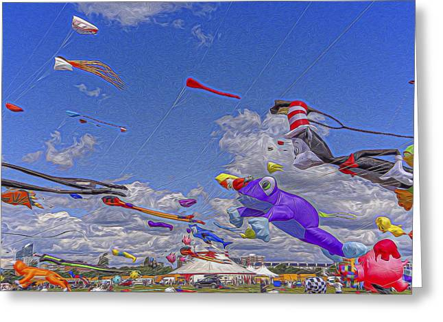 Kite Festival Greeting Card by Angela Aird