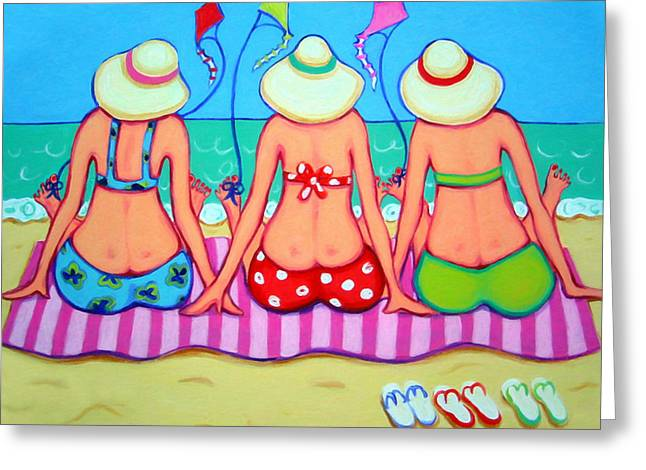 Kite Flying 101 - Girlfriends On Beach Greeting Card by Rebecca Korpita