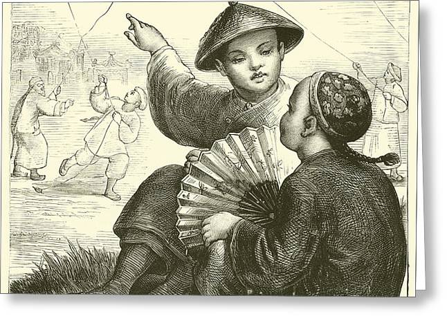 Kite Flying In China  Greeting Card by English School
