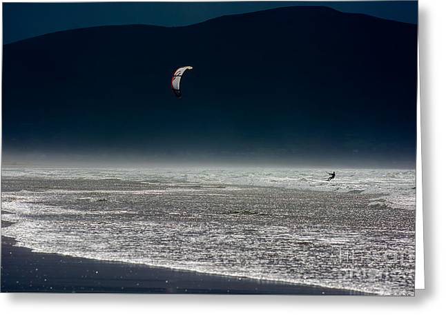 Kite Surfer At The Coast Of Ireland Greeting Card by Andreas Berthold