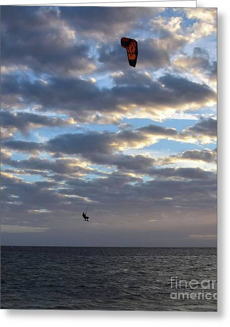 Kite Surfer In The Air 14696 Greeting Card by Anna Gibson