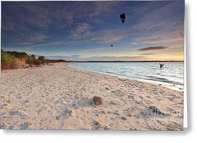 Kite Surfers At Sunset On Silver Beach Botany Bay Australia Greeting Card by Leah-Anne Thompson