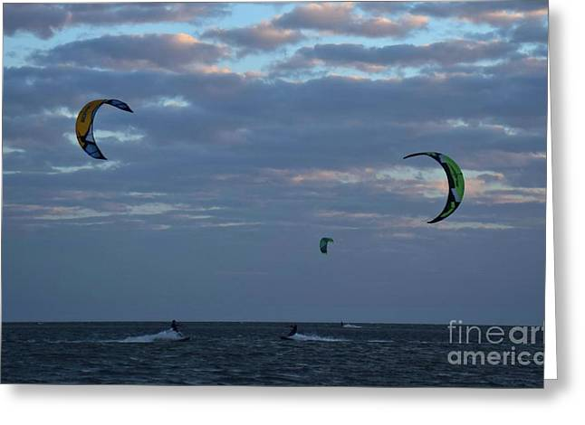 Kite Surfers Converging 12037 Greeting Card by Anna Gibson