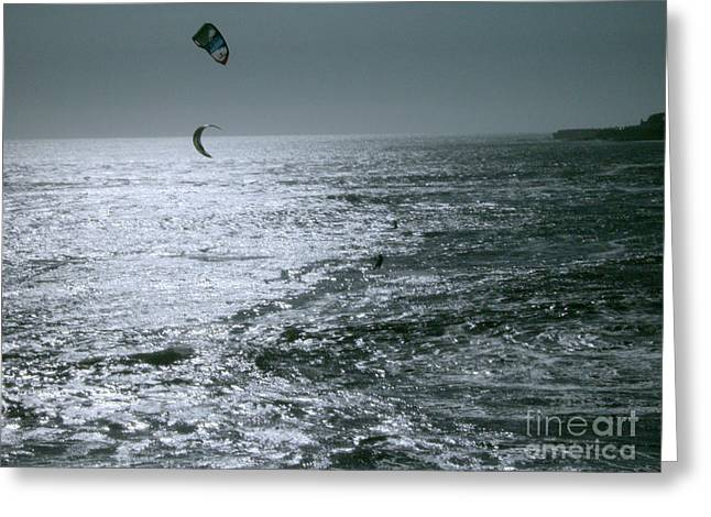 California Kite Surfers Greeting Card by Rick Maxwell