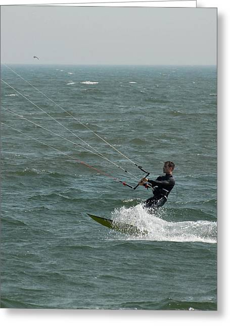 Wind Surfing Print Greeting Cards - Kite Surfing 14 Greeting Card by Joyce StJames