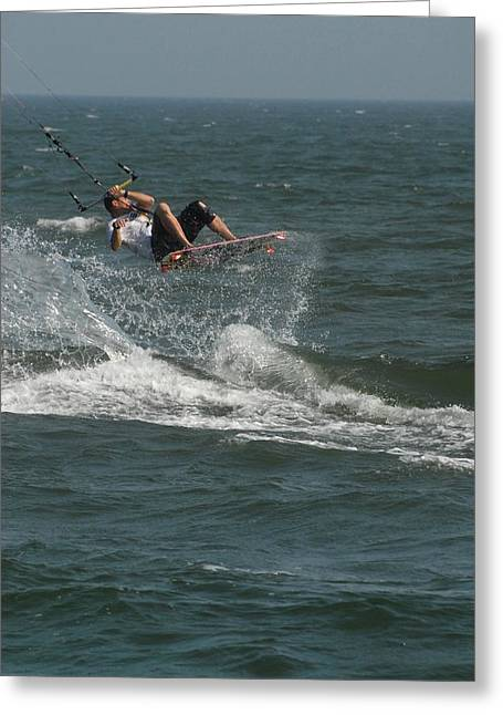 Wind Surfing Print Greeting Cards - Kite Surfing 22 Greeting Card by Joyce StJames