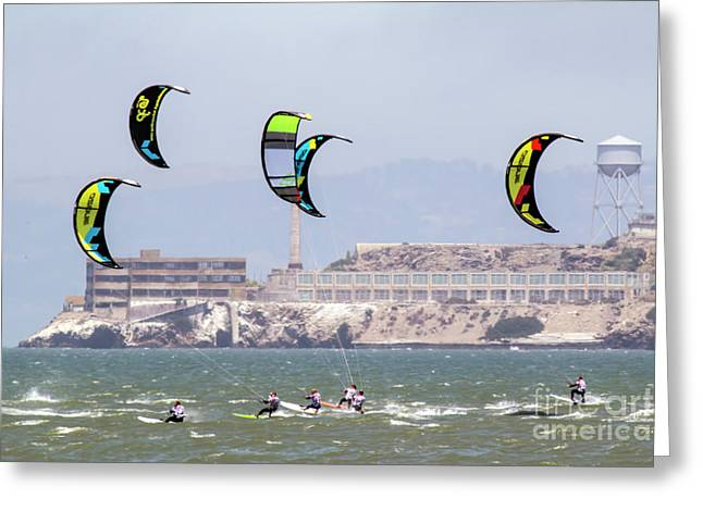 Kite Surfing Alcatraz Prison  Greeting Card by Chuck Kuhn