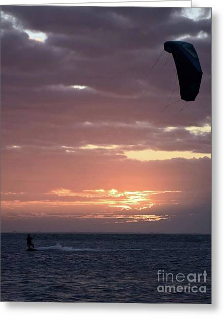 Kite Surfing At Break Of Day 11953 Greeting Card by Anna Gibson