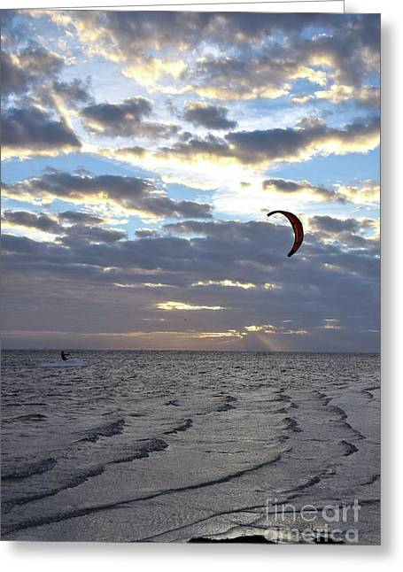 Kite Surfing At Daybreak 12084 Greeting Card by Anna Gibson