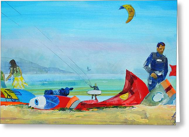 Kite Surfing At Exmouth Greeting Card