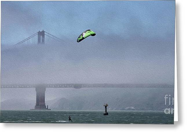 Kite Surfing California  Greeting Card by Chuck Kuhn