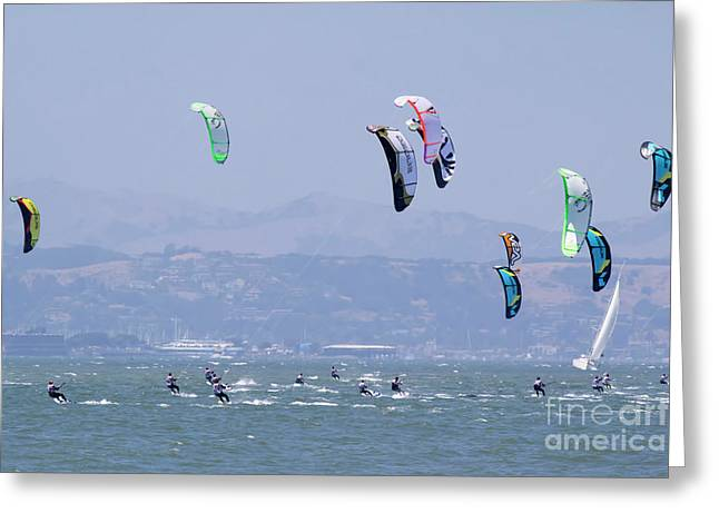 Kite Surfing California II Greeting Card by Chuck Kuhn
