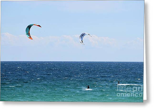 Kite Surfing  - No 1 Greeting Card by Cindy Nearing