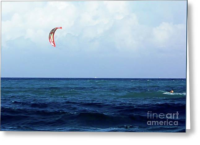 Kite Surfing  Greeting Card by D Hackett
